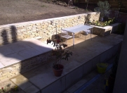 The completed walling project including all paving